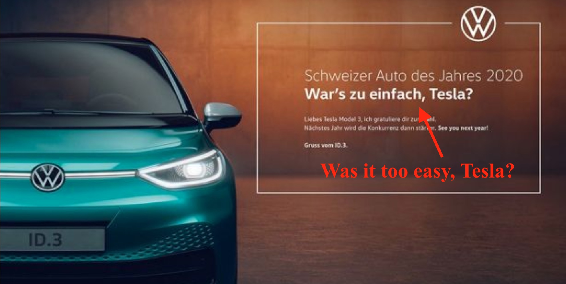 Tesla gets kudos from VW for car of the year award in ad, challenges them with ID.3 - Electrek