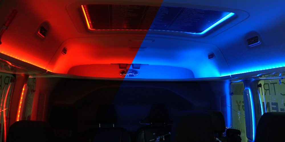 Red and blue lights in Ford electric vehicles
