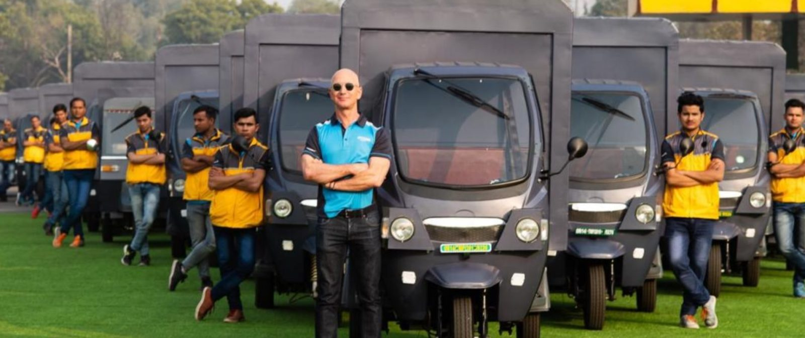 Watch Jeff Bezos drive Amazon's new electric rickshaw