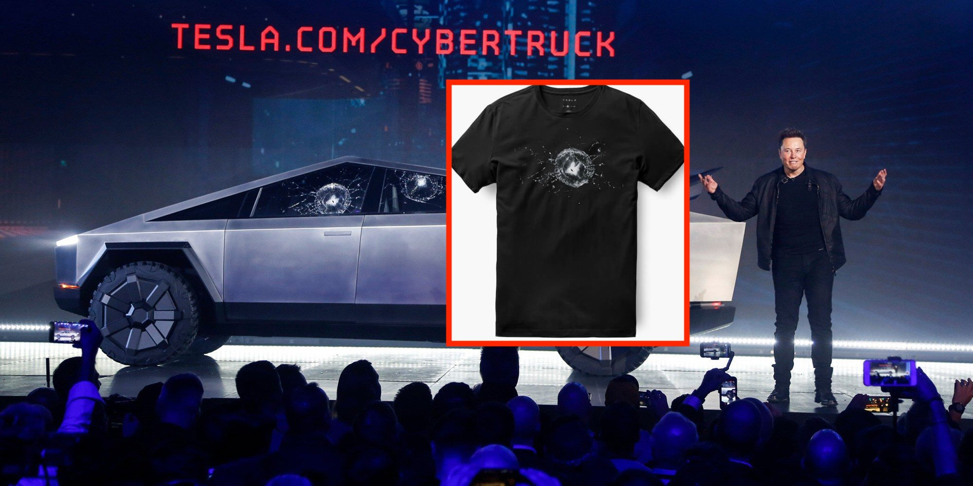 Tesla Turns Cybertruck Window Breaking Mishap Into T Shirt Launches New Apparel Electrek