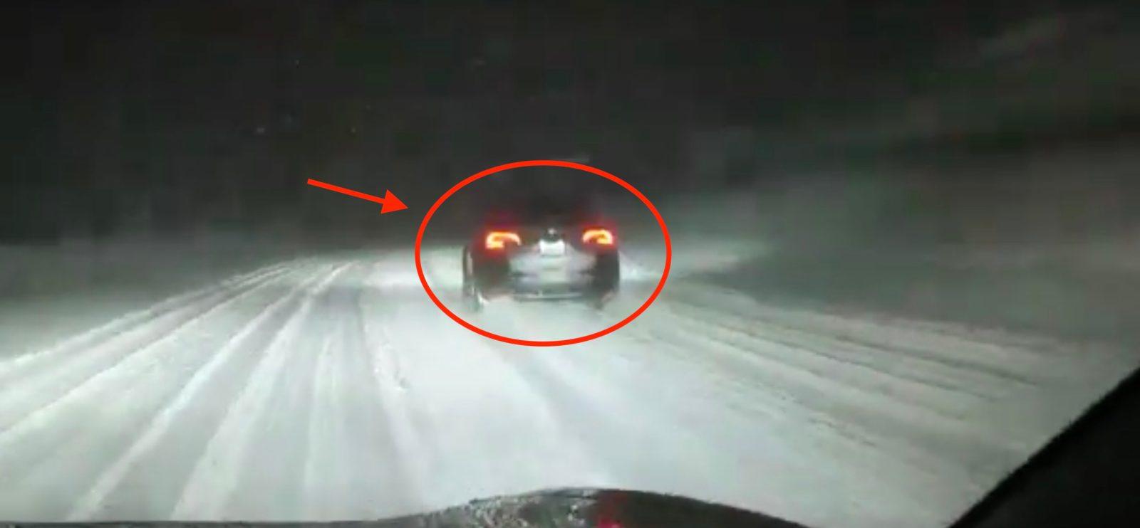 Watch Tesla test Model Y prototype in the snow