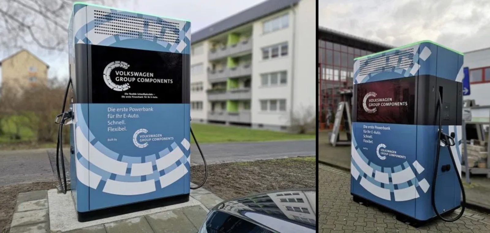 VW deploys first electric car charging stations with giant integrated batteries