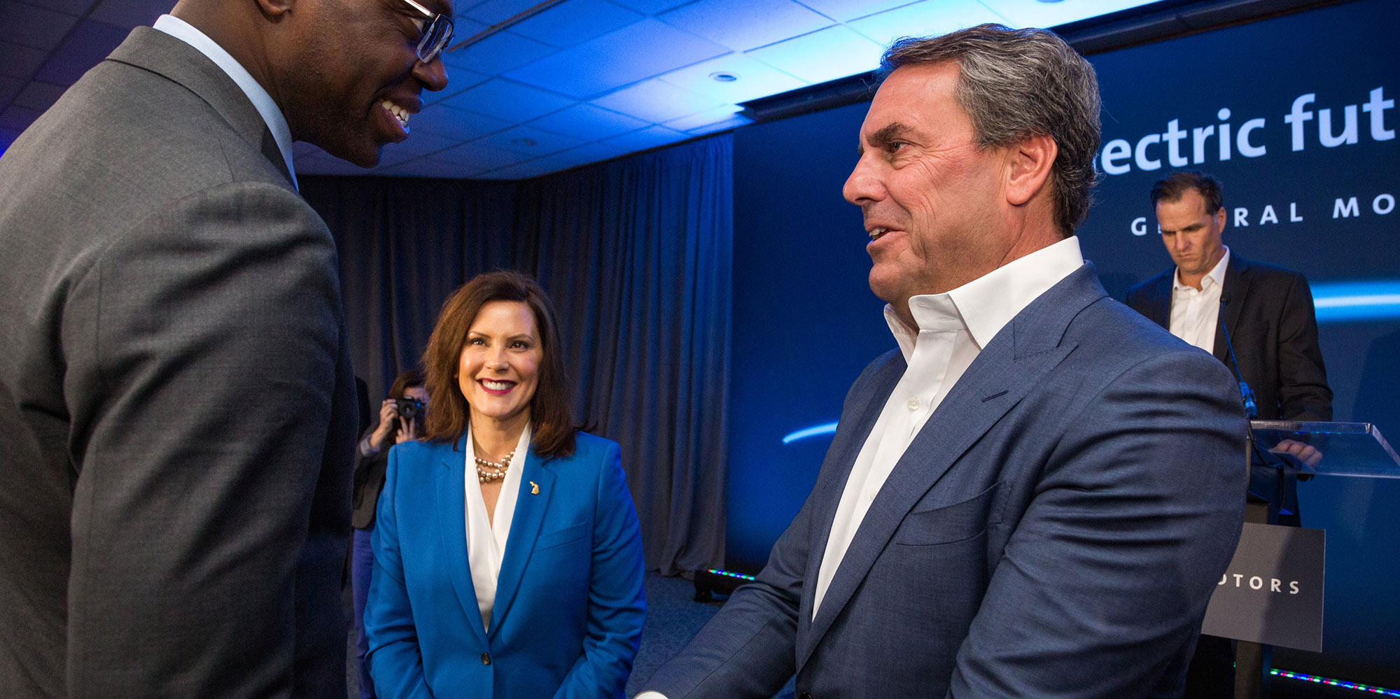 GM President Mark Reuss greets Michigan Lt. Governor Garlin Gilchrist and Michigan Governor Gretchen Whitmer at the GM Detroit- Hamtramck plant.