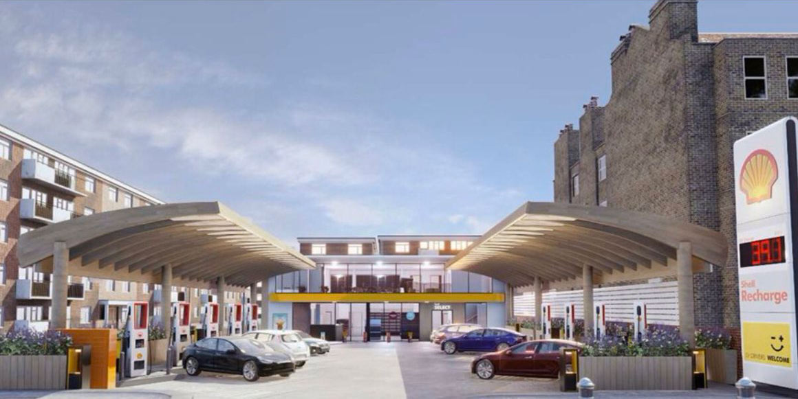 Shell's plan for turning a petrol station into an EV charging hub