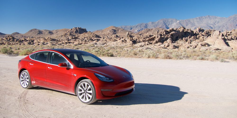 tesla model 3 alabama hills test drive dirt road