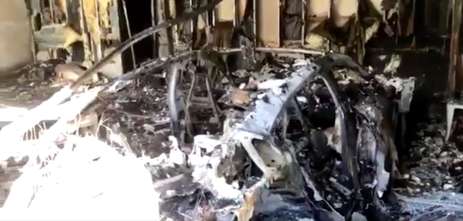 Porsche Taycan caught on fire — burning down a garage in Florida