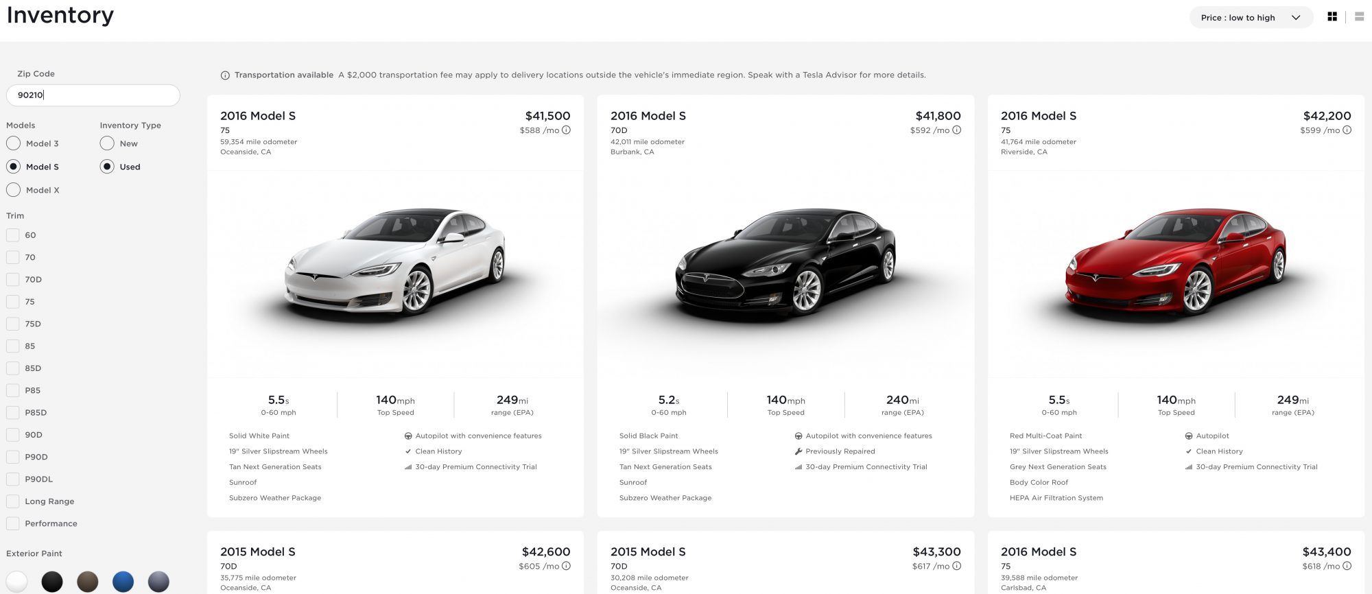 buy a tesla from inventory