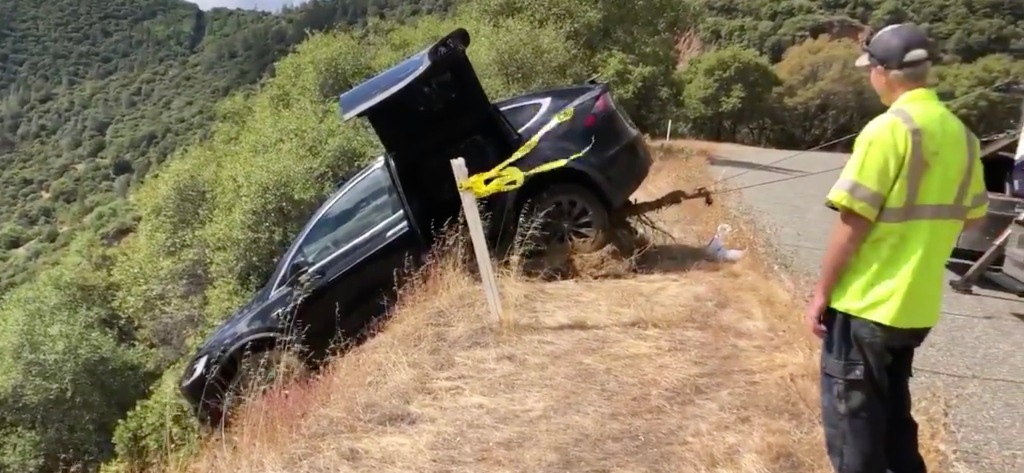 Tesla owner says Model X saved his life after crash down a hill - Electrek