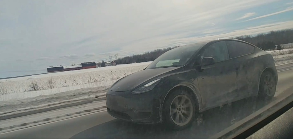 Tesla Model Y gets dirty all the way to Quebec ahead of start of deliveries - Electrek