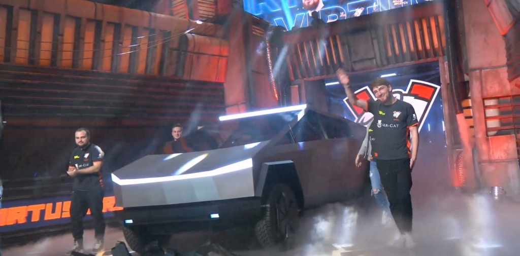 Tesla Cybertruck with laser blade lights shows up at esports Dota 2 game event - Electrek