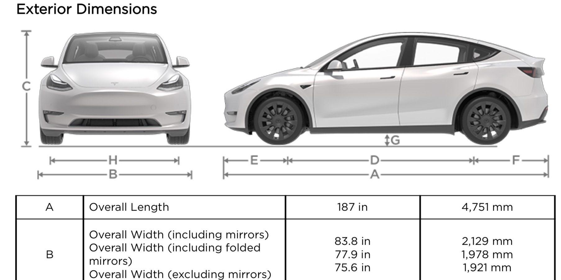 Tesla model y specs