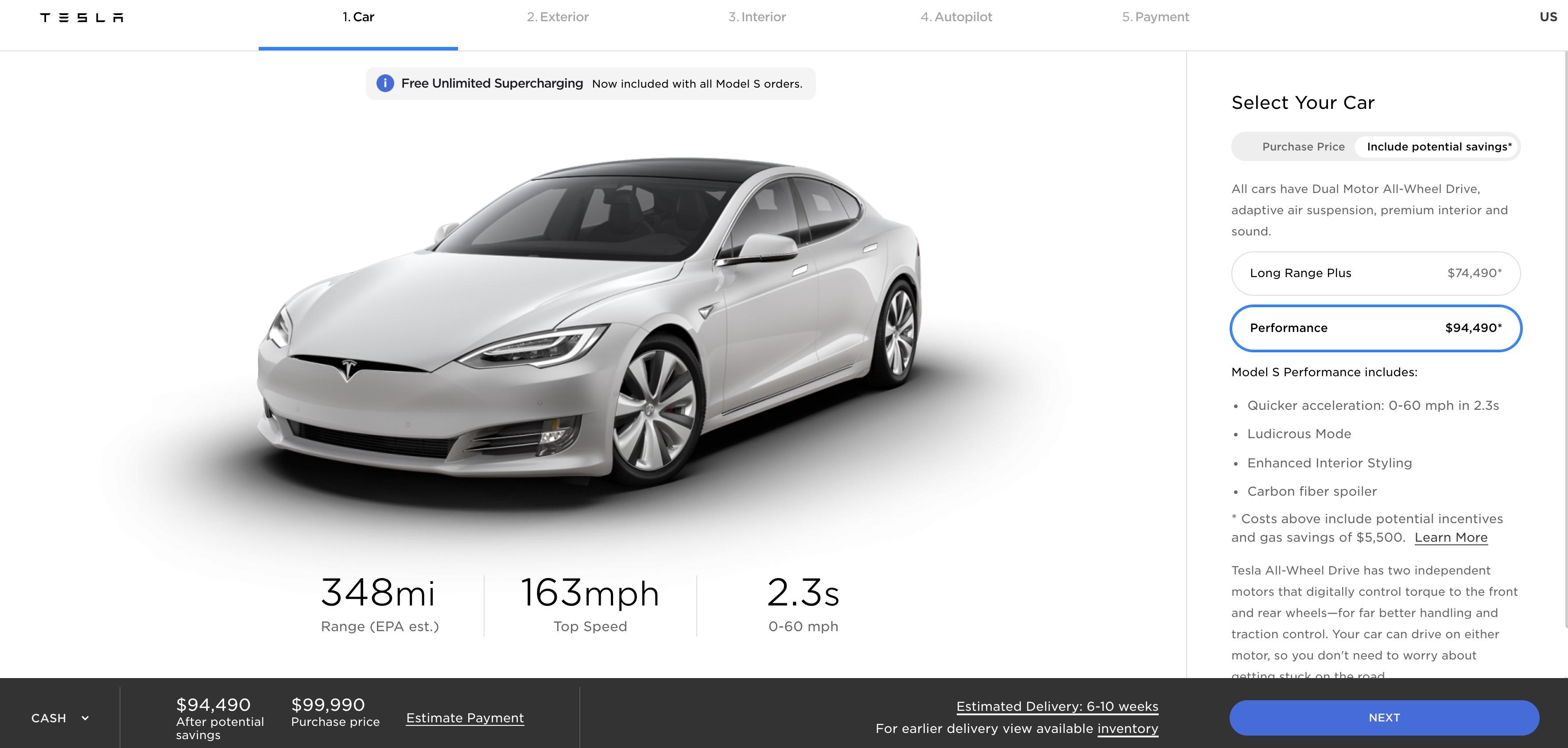 Tesla Updates Model S Performance 0 60 Mph Acceleration To 2 3 Seconds Electrek