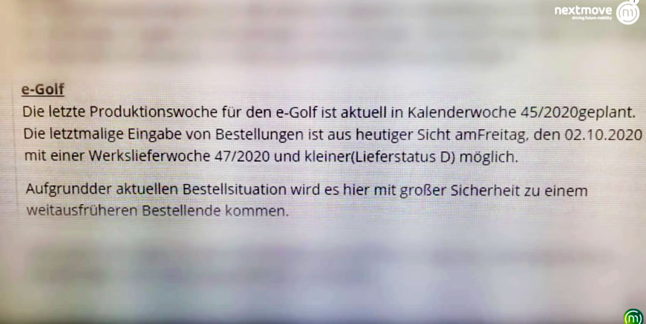 Internal VW document regarding E-Golf
