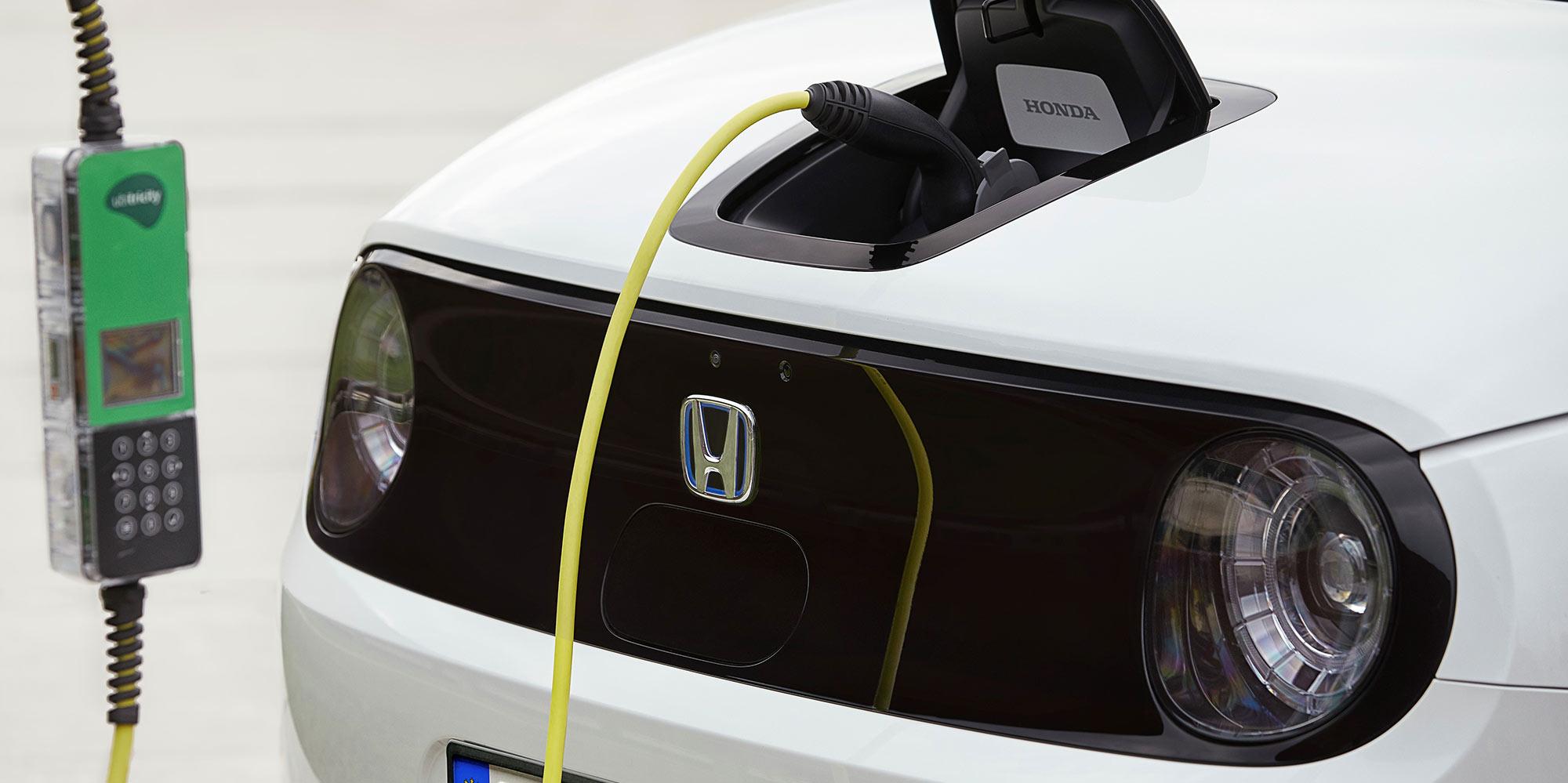 Honda e plugged in