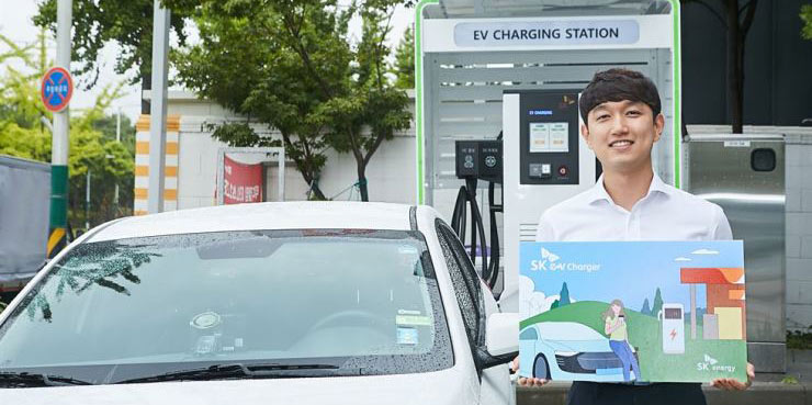 EV charging at gas station in Korea
