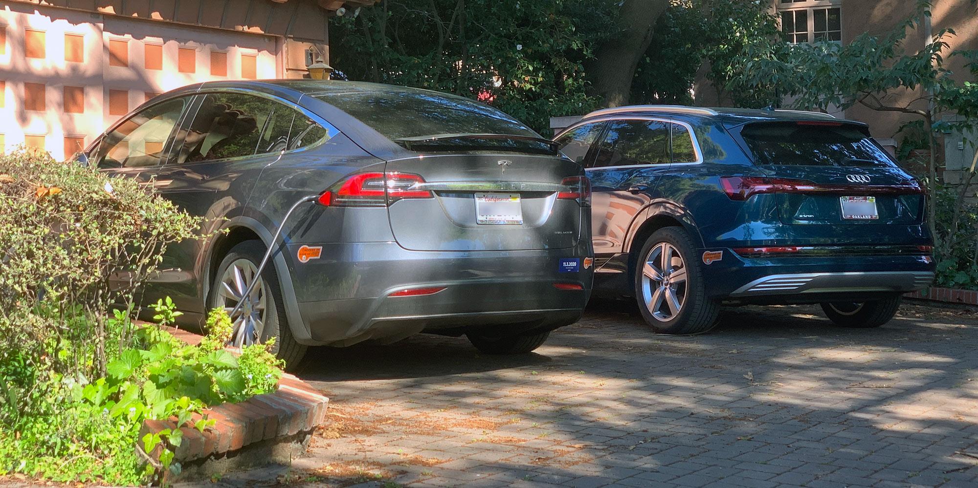 Tesla Model X and Audi e-tron