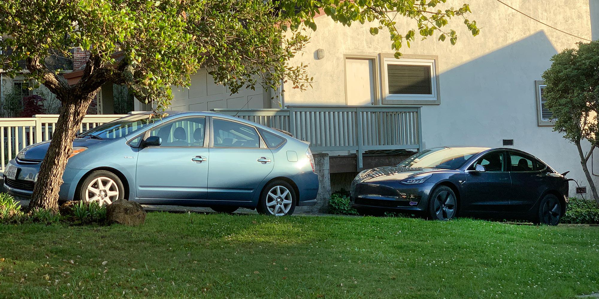 Toyota Prius and Tesla Model 3
