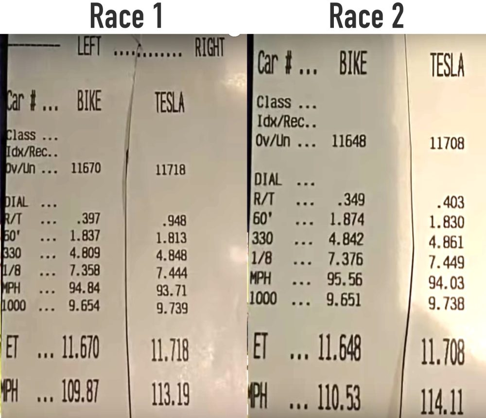 harley livewire tesla model 3 drag race times