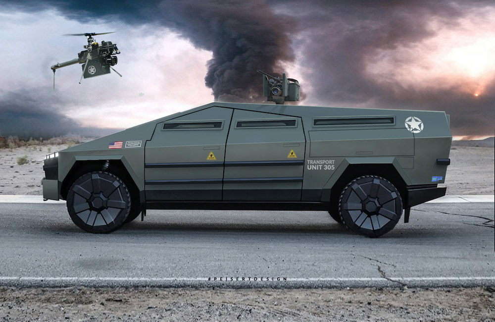 Tesla Cybertruck gets turned into electric military vehicle in crazy renders