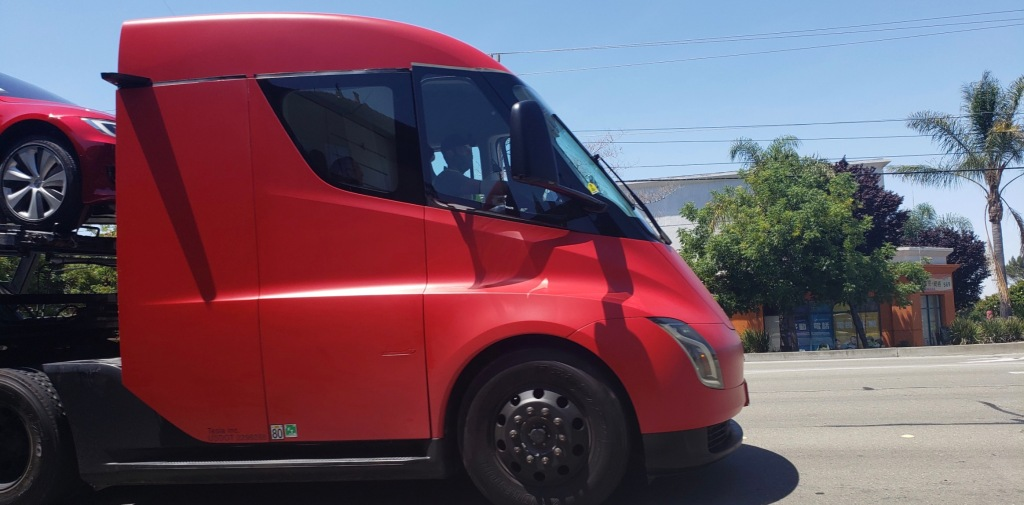 A Tesla Semi prototype has been spotted being used by the automaker to deliver cars during its end-of-the-quarter delivery push.  		 We reported earli