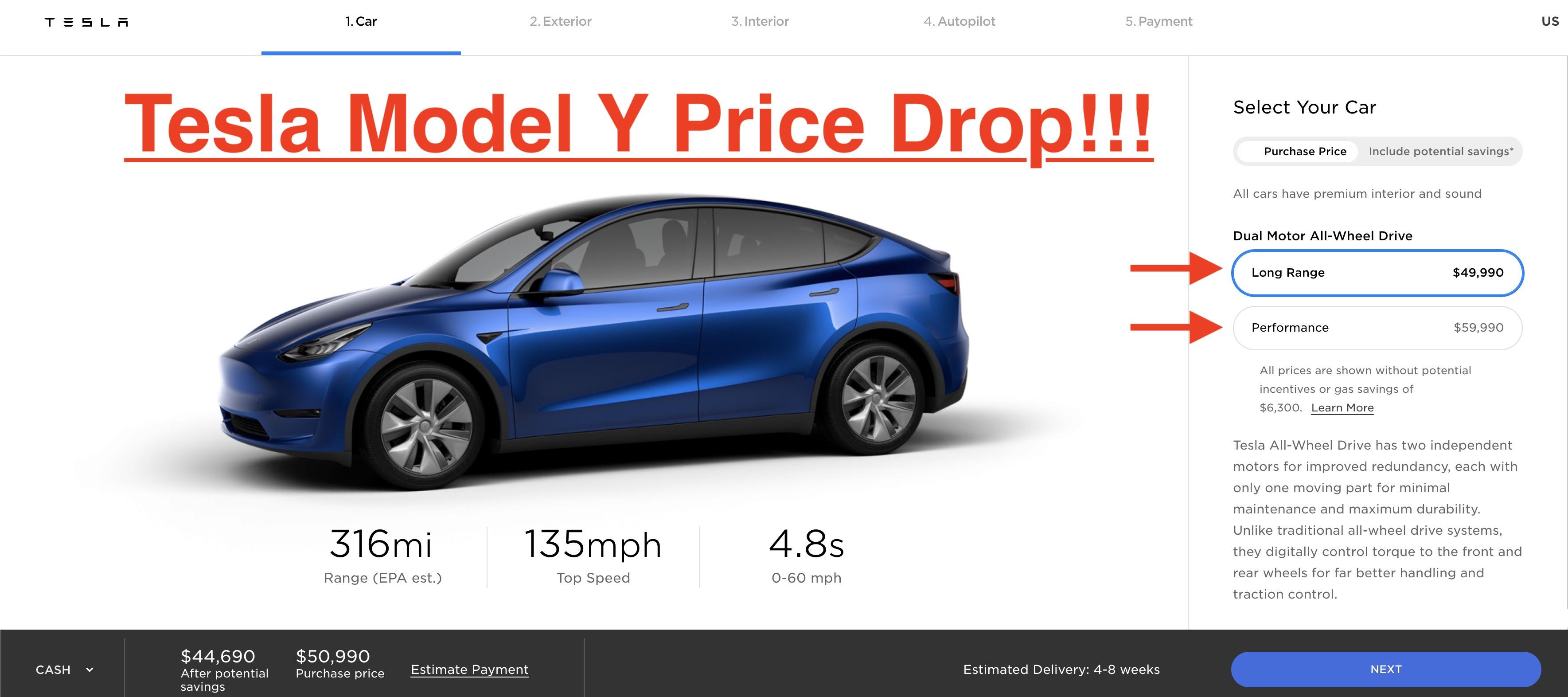 Tesla reduces Model Y prices, now starts below $50,000 ...