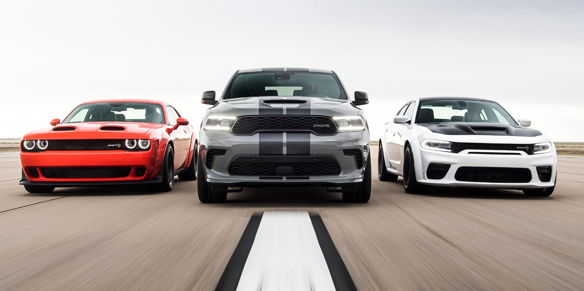 2020 Challenger SRT Super Stock, 2021 Durango SRT Hellcat and 2021 Charger SRT Hellcat Redeye