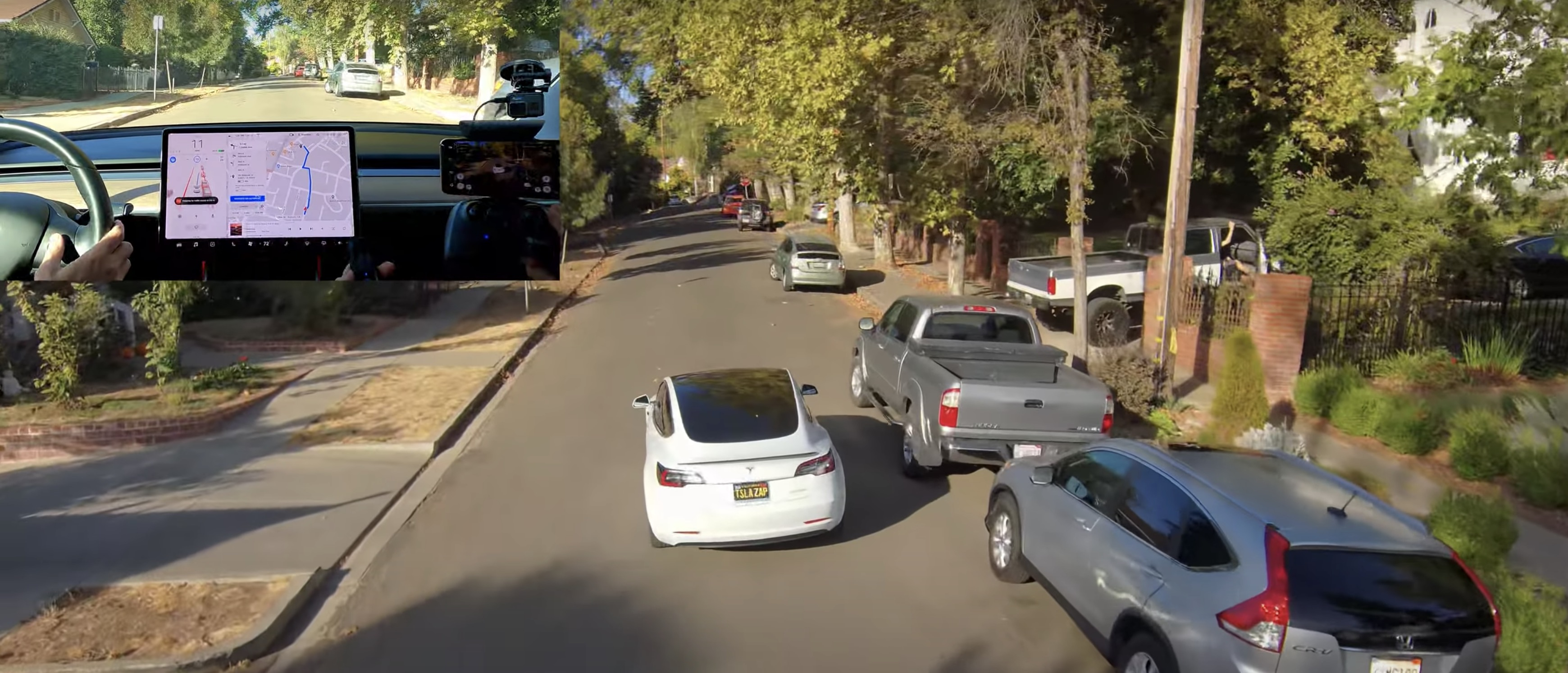Watch Tesla Full Self-Driving Beta's performance from the sky with scary near-miss - Electrek