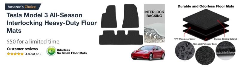 Tesla Model 3 All-Season Interlocking Heavy-Duty Floor Mats