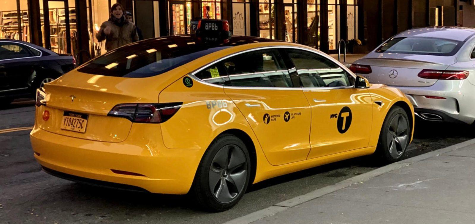 First Tesla Model 3 NYC yellow cab hits the road - Electrek