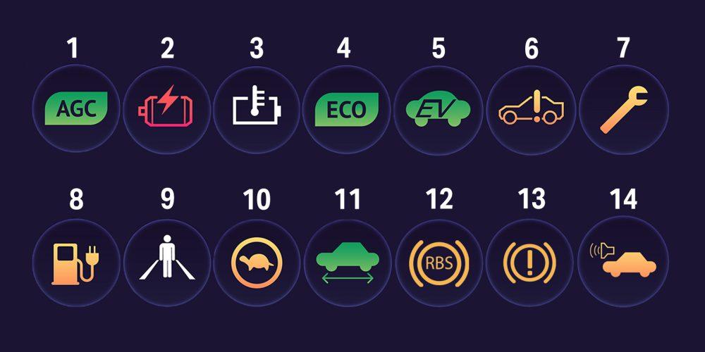 electric hybrids dashboard symbols