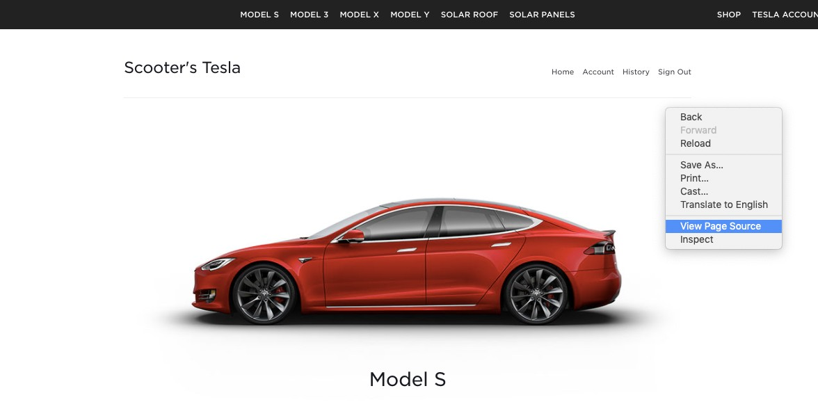 Find Tesla VIN number