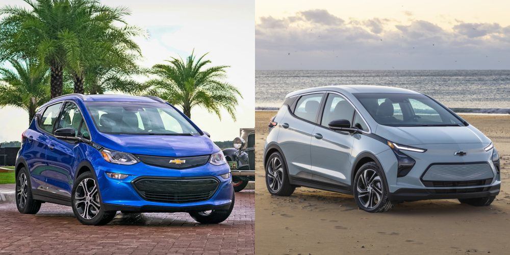 2017 vs 2022 Bolt EV compared, front and passenger side view