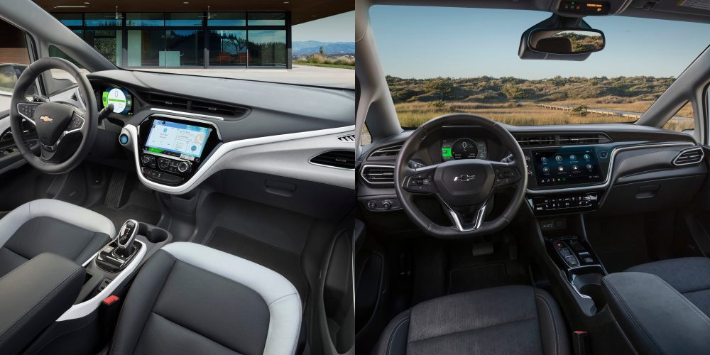 2017 and 2022 Bolt EVs compared, inside view