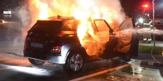 Hyundai Kona EV on Fire