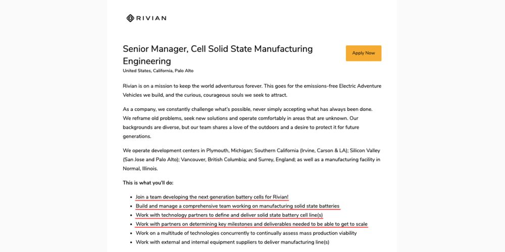 Rivian solid-state battery cells