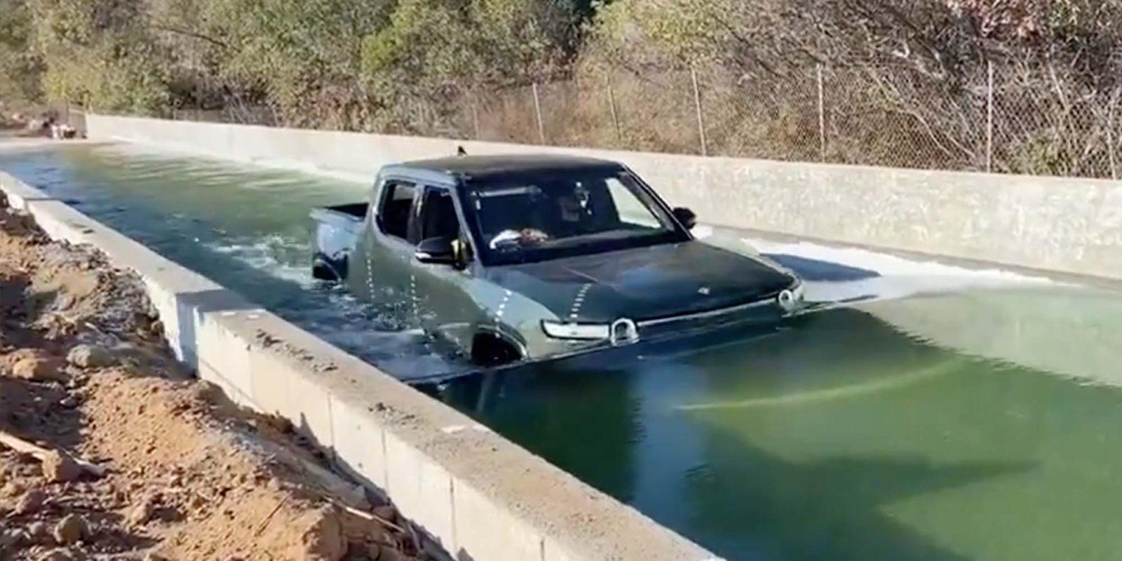 Watch Rivian's R1T easily navigate through at least 3 feet of water -  Electrek